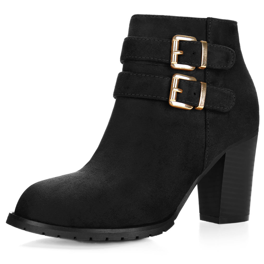 Women Round Toe Buckled Straps Chunky Heel Ankle Booties Black US 7.5