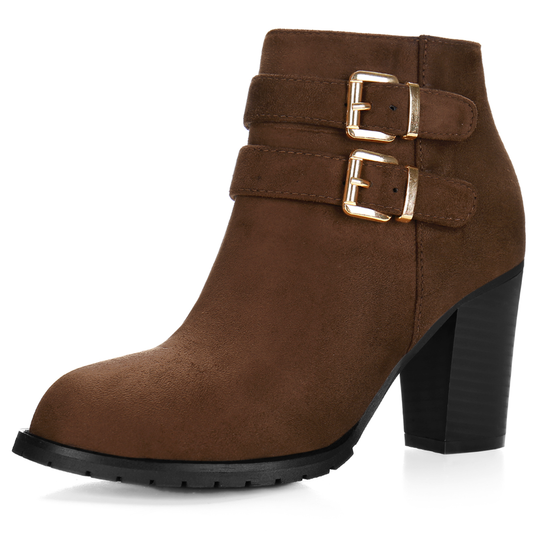 Women Round Toe Buckled Straps Chunky Heel Ankle Booties Coffee US 7.5