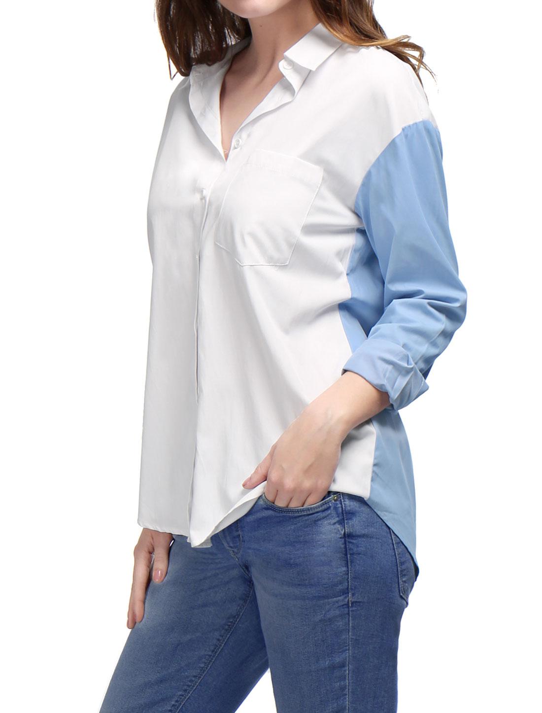 Women Long Sleeves Color Block Cotton Boyfriend Tunic Shirt Blue M