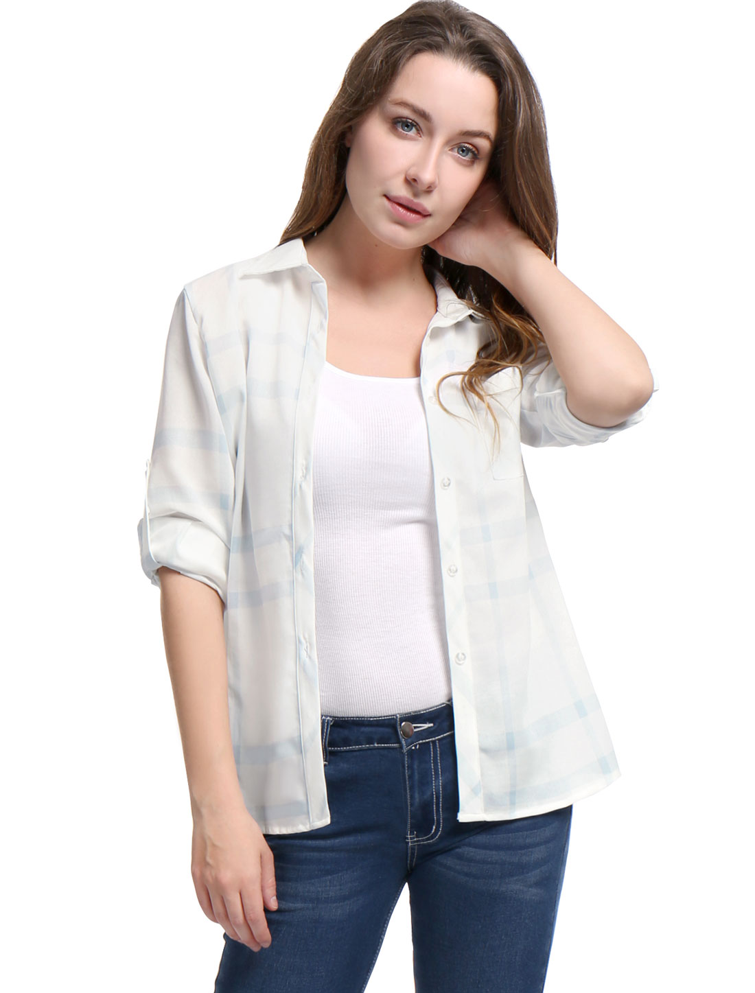Women Roll Up Sleeves Buttoned Tunic Plaid Shirt Light Blue XL