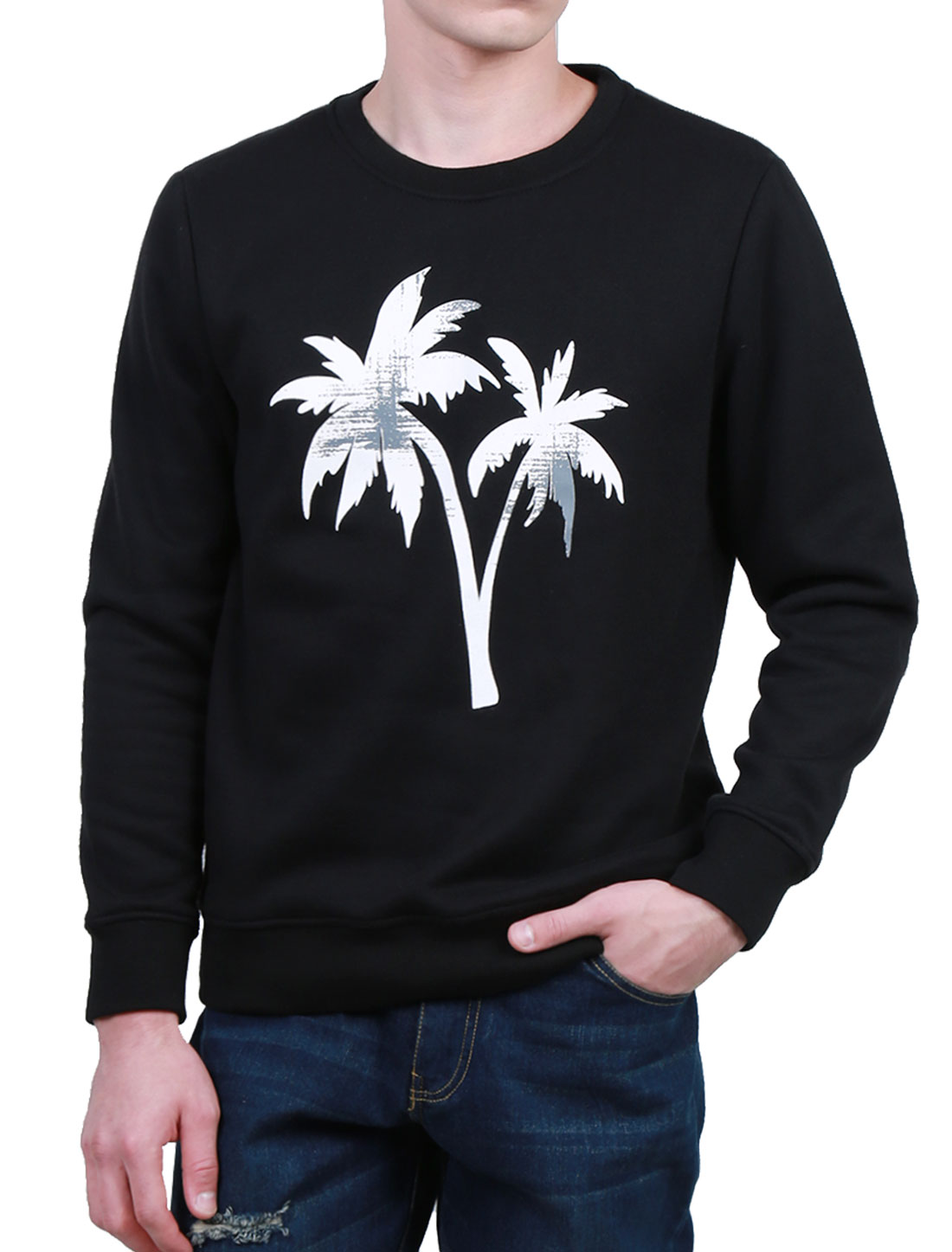 Men Tree Print Crew Neck Long Sleeves Fleece Pullover Sweatshirt Black L