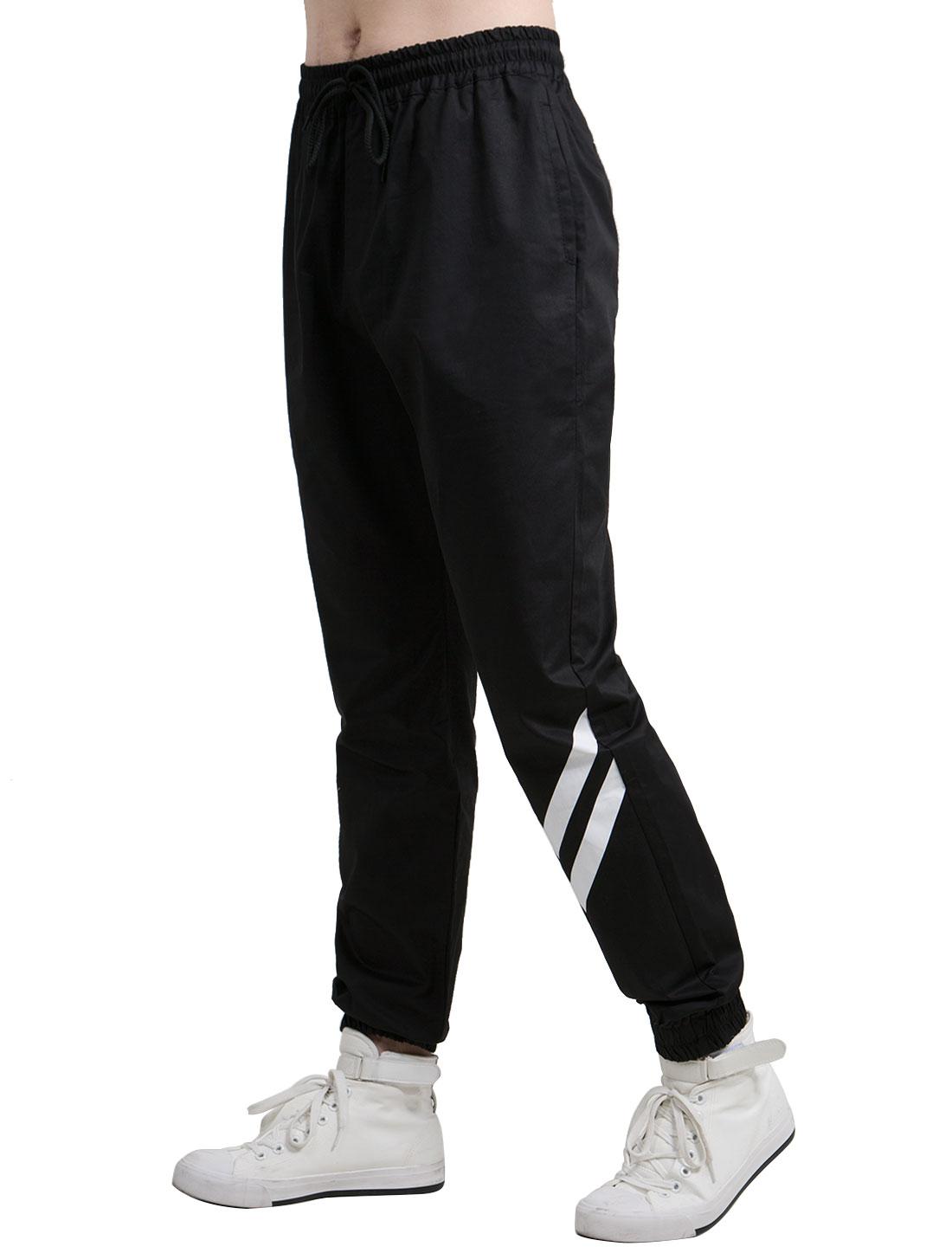 Men Arrows Pattern Drawstring Stretch Elastic Waist Sweatpants Black W36