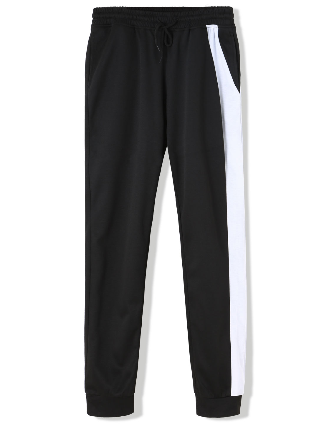Men Color Block Stretch Elastic Waist Cuffed Sweatpants Black W36