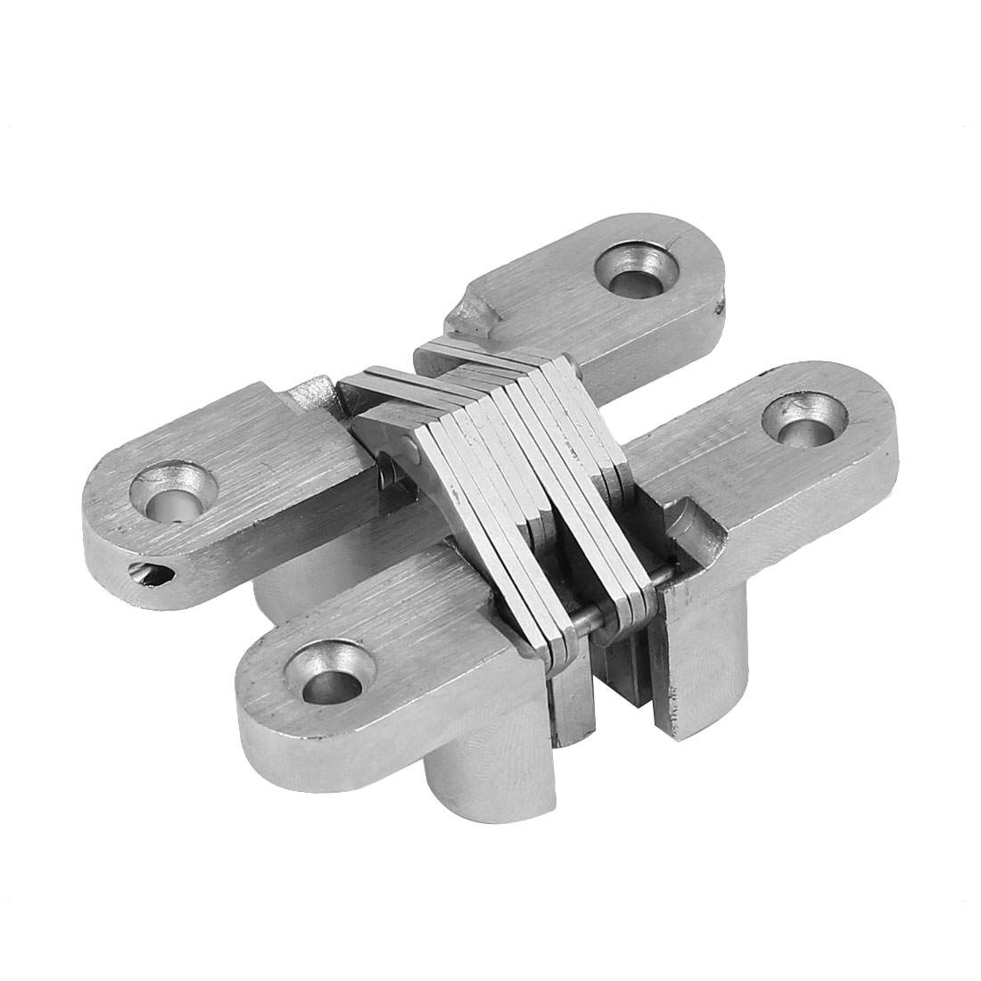 Cabinet Cupboard Sliding Door Folding Cross Hidden Hinge Silver Tone 70mm Length