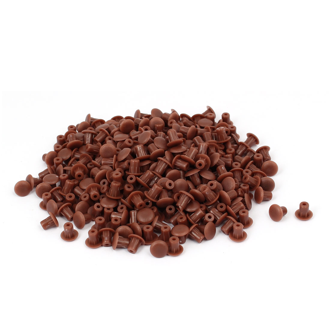5mm 0.2-inch Dia Plastic Round Head Flush Type Hole Cap Cover Brown 500pcs