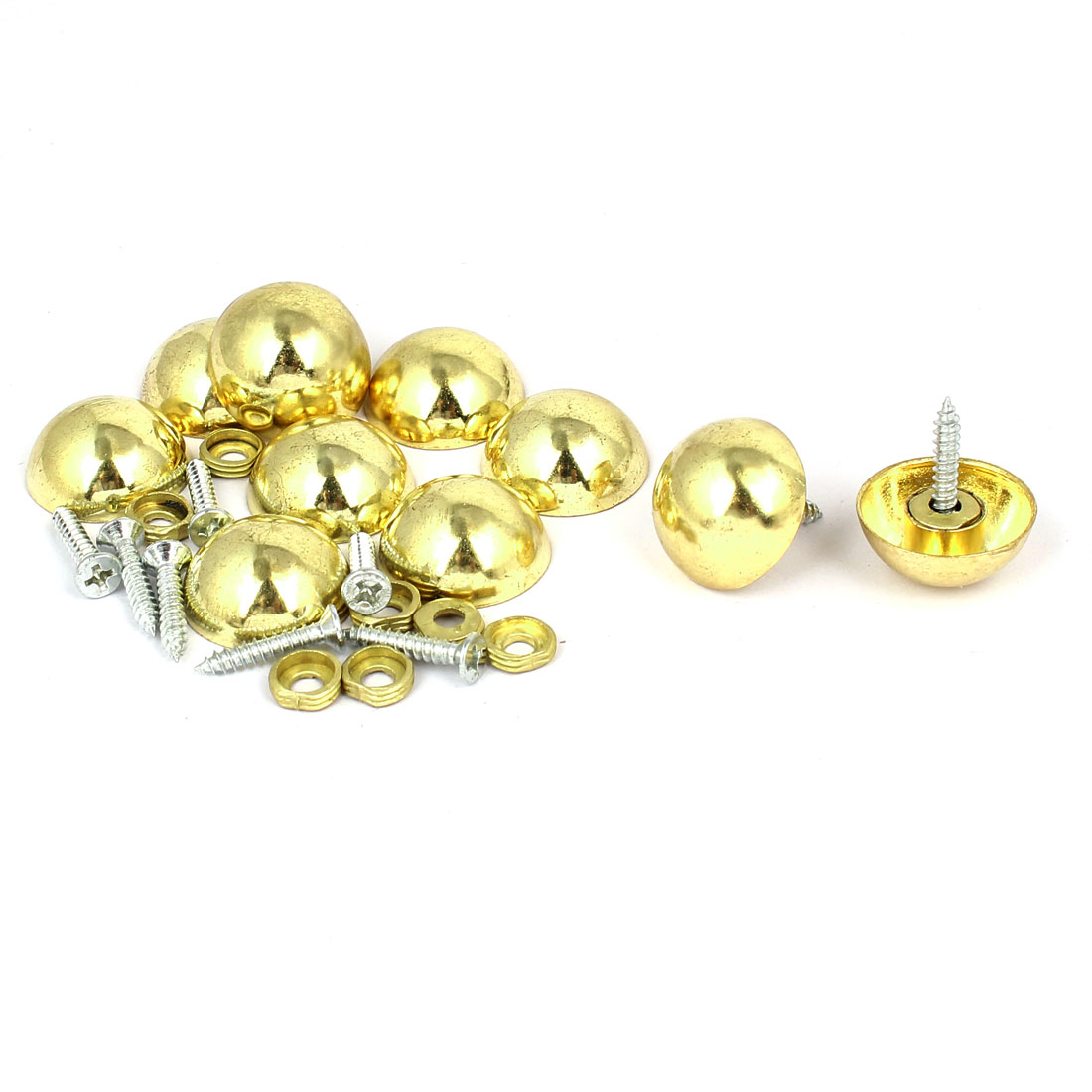 23mm Dia Head Metal Semicircle Screw Type Glass Mirror Nail Gold Tone 10pcs