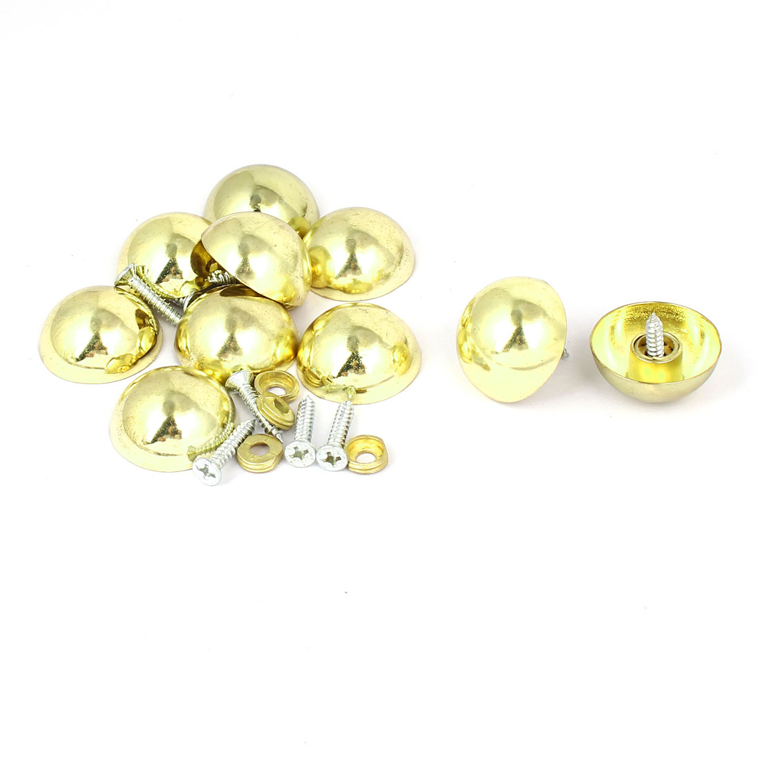 27mm Dia Head Metal Semicircle Screw Type Glass Mirror Nail Gold Tone 10pcs