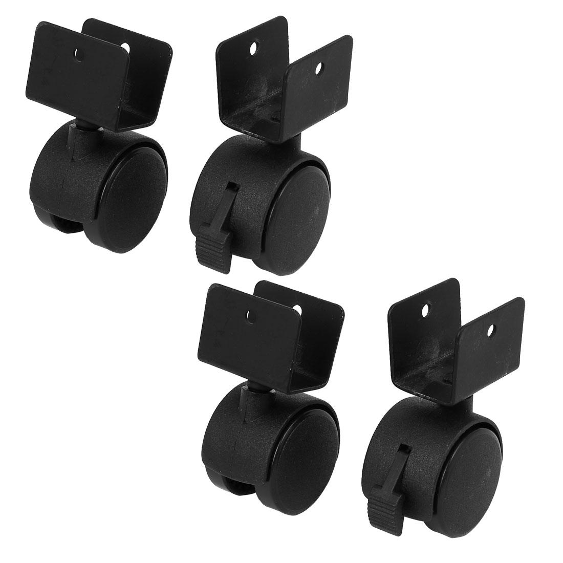 "1.5"" Dia Wheel U-Clamp Top Rotatable Universal Swivel Brake Caster Black 4pcs"