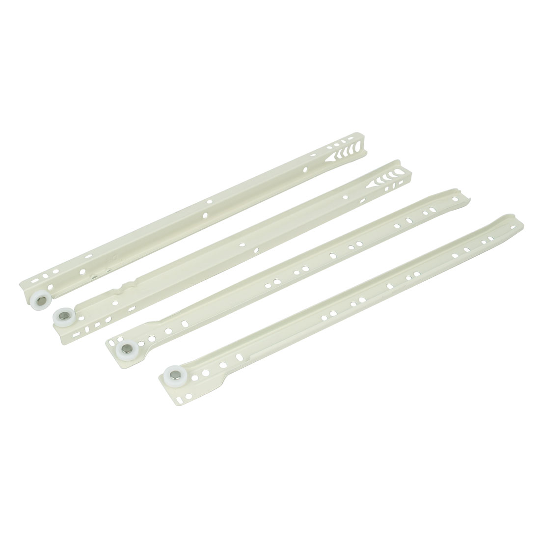 Home Office Drawer Cabinet Wheel Slide Track White 400mm 16-inch Length Pair