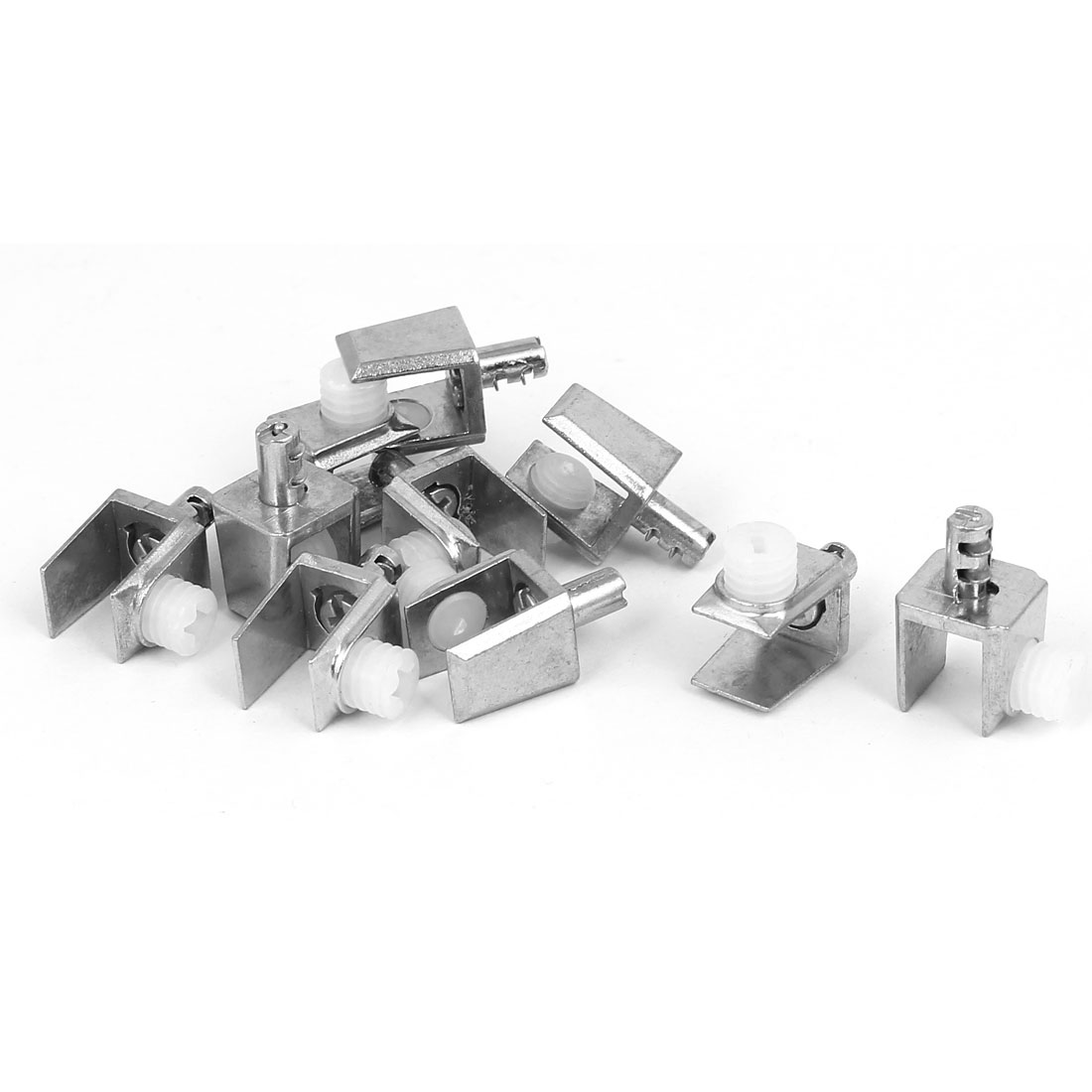 4mm-8mm Thickness Adjustable Rectangle Glass Shelf Clamp Clip Support Bracket 10pcs