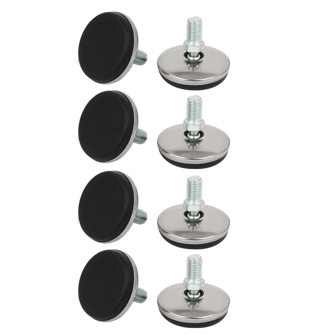 37mm Dia Plastic Base Thread Stem Adjustable Leveling Foot Furniture Glide 8pcs