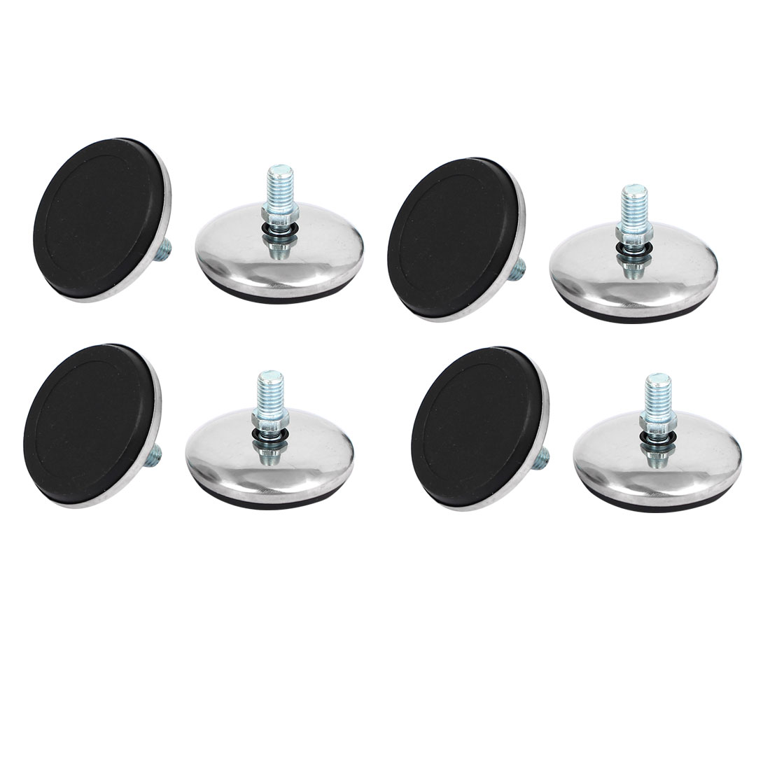 50mm Dia Plastic Base Thread Stem Adjustable Leveling Foot Furniture Glide 8pcs