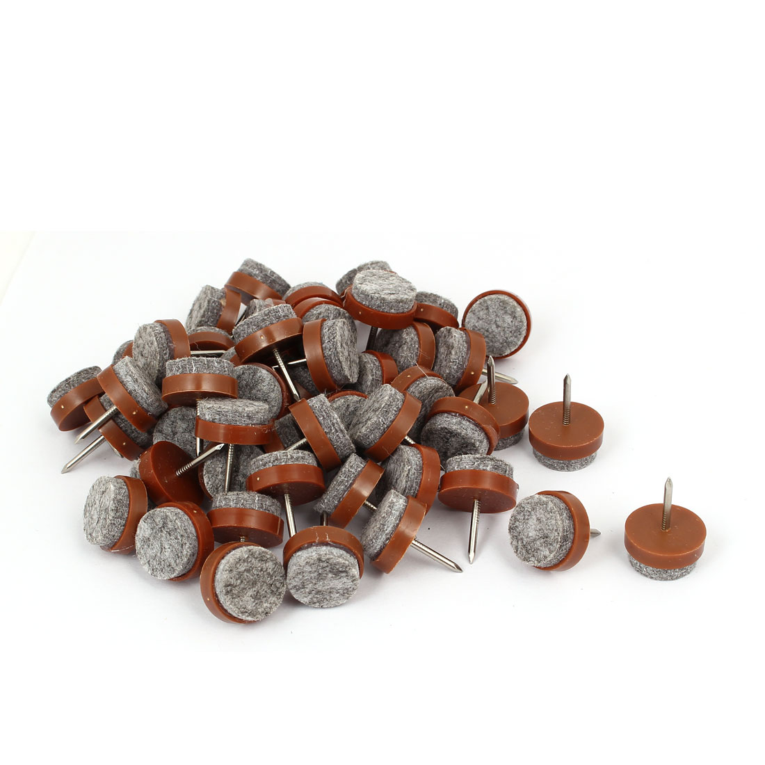 Table Legs Round Shape Furniture Protector Nail Feet Pad Brown 20mm x 26mm 50pcs