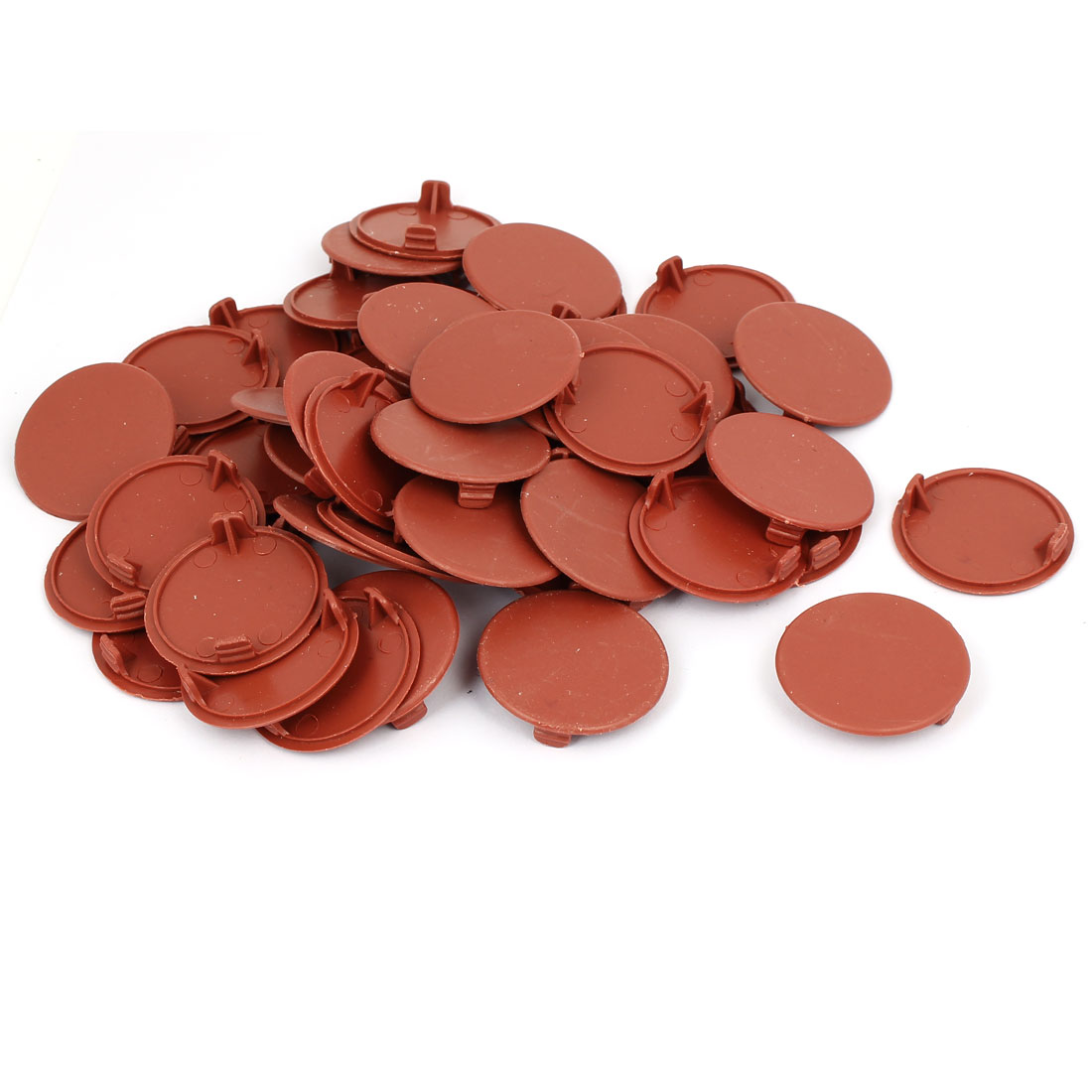 40mm 1.6-inch Diameter Plastic Round Head Hole Cap Cover Brown 50pcs
