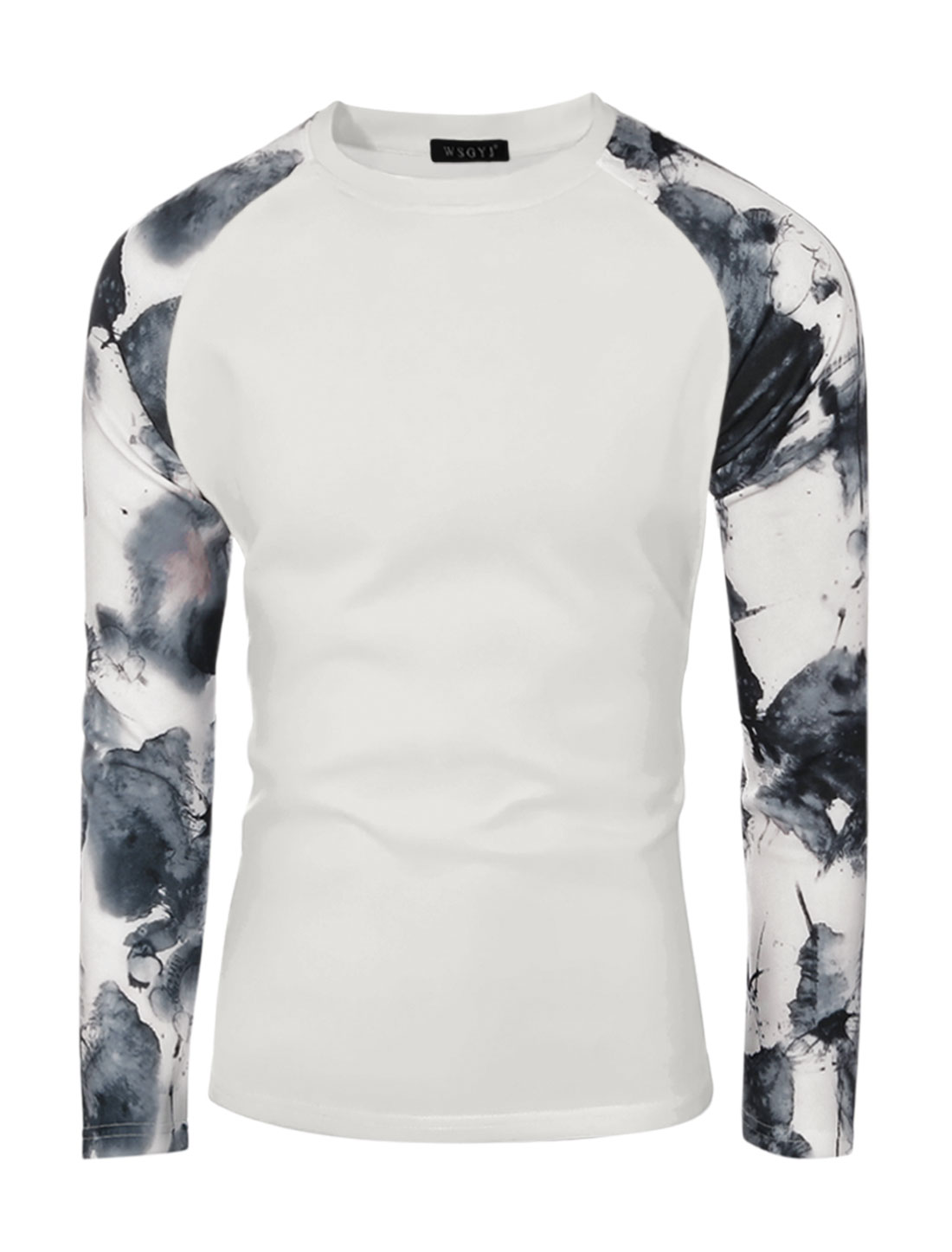 Men Novelty Prints Round Neck Long Sleeves Slim Fit T-shirt White S