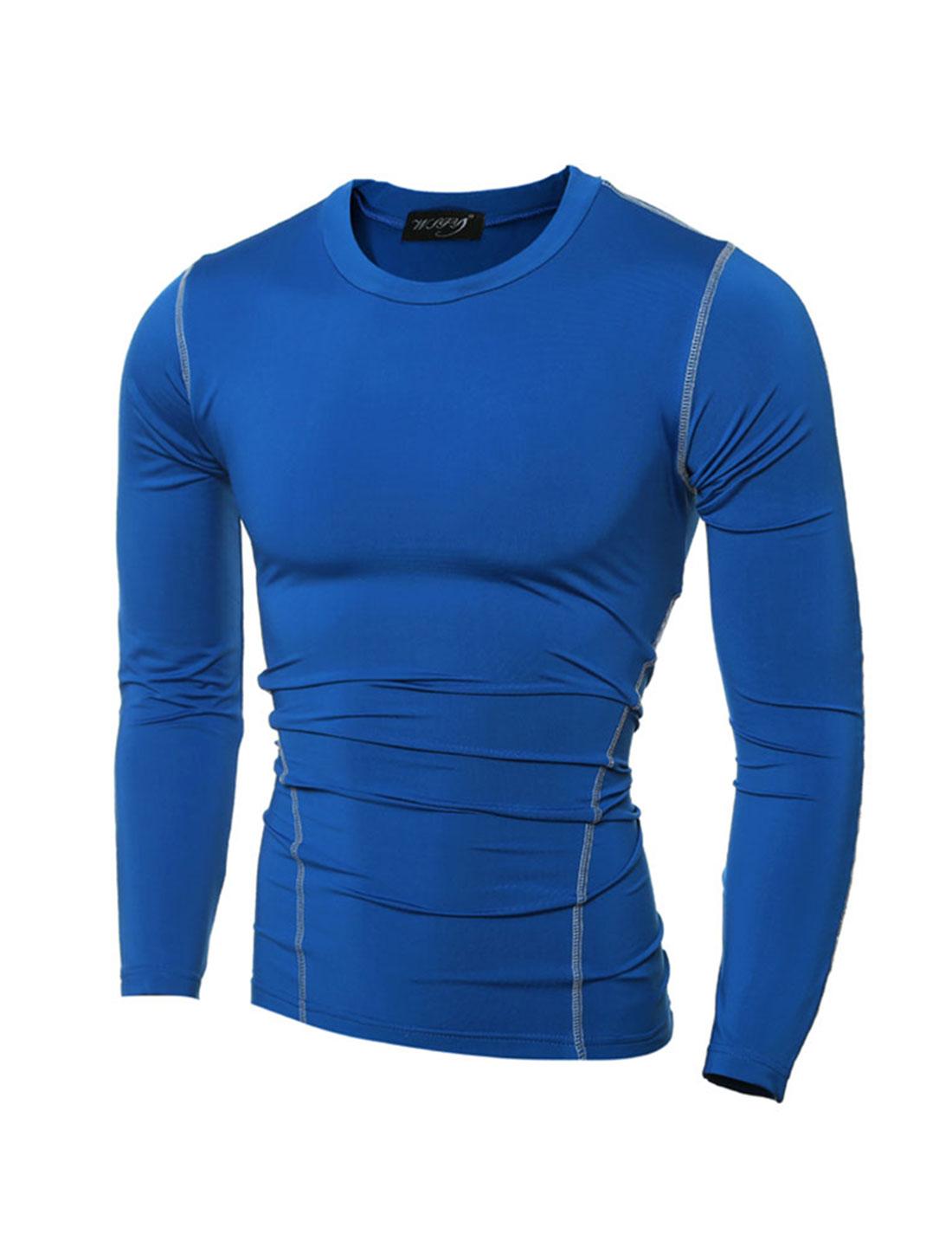 Men Crew Neck Long Sleeves Seam Decor Skin Tight T-Shirt Royal Blue S