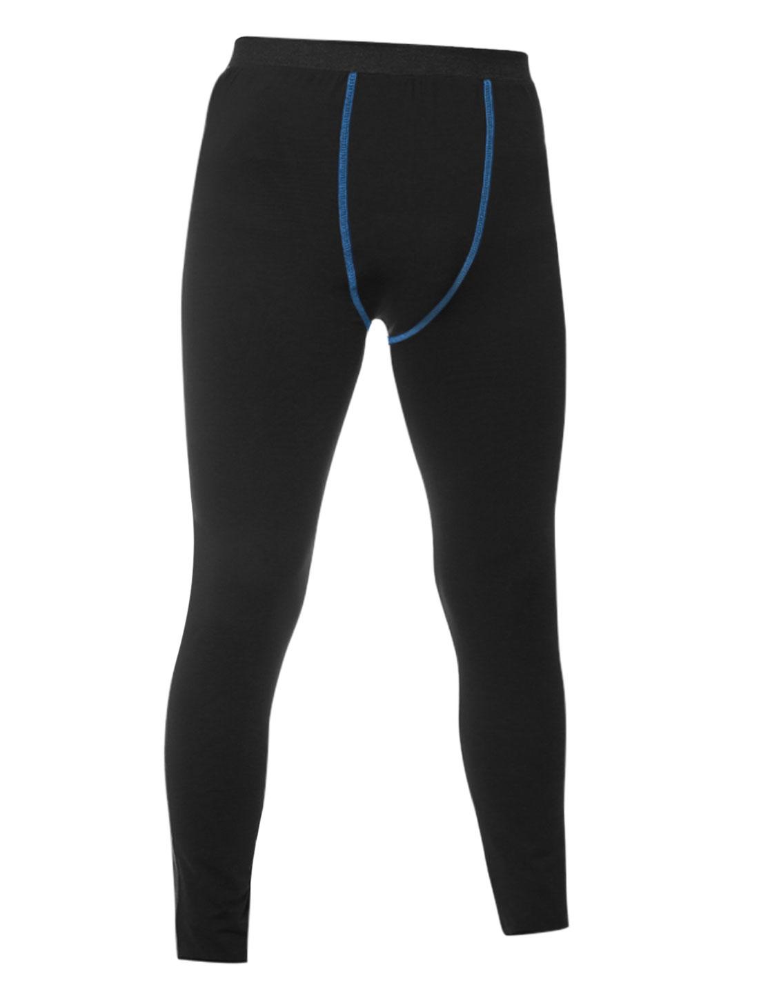 Men Elastic Waistband Seam Decor Skin Tight Compression Pants Black W32