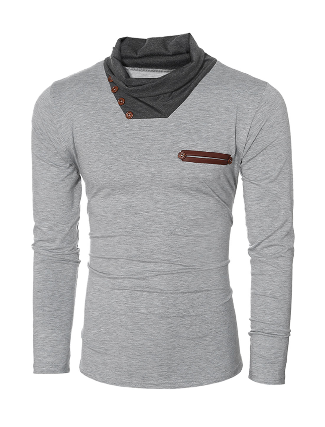 Men Cowl Neck Long Sleeves Button Decor PU Panel Slim Fit T-shirt Gray S
