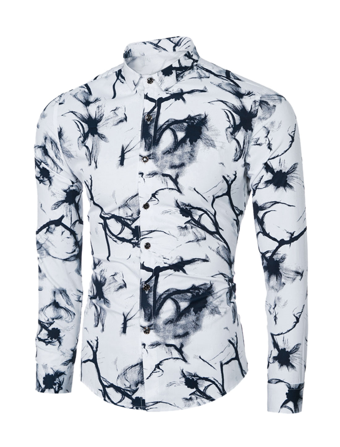 Men Point Collar Long Sleeves Novelty Prints Button Down Shirt Black M