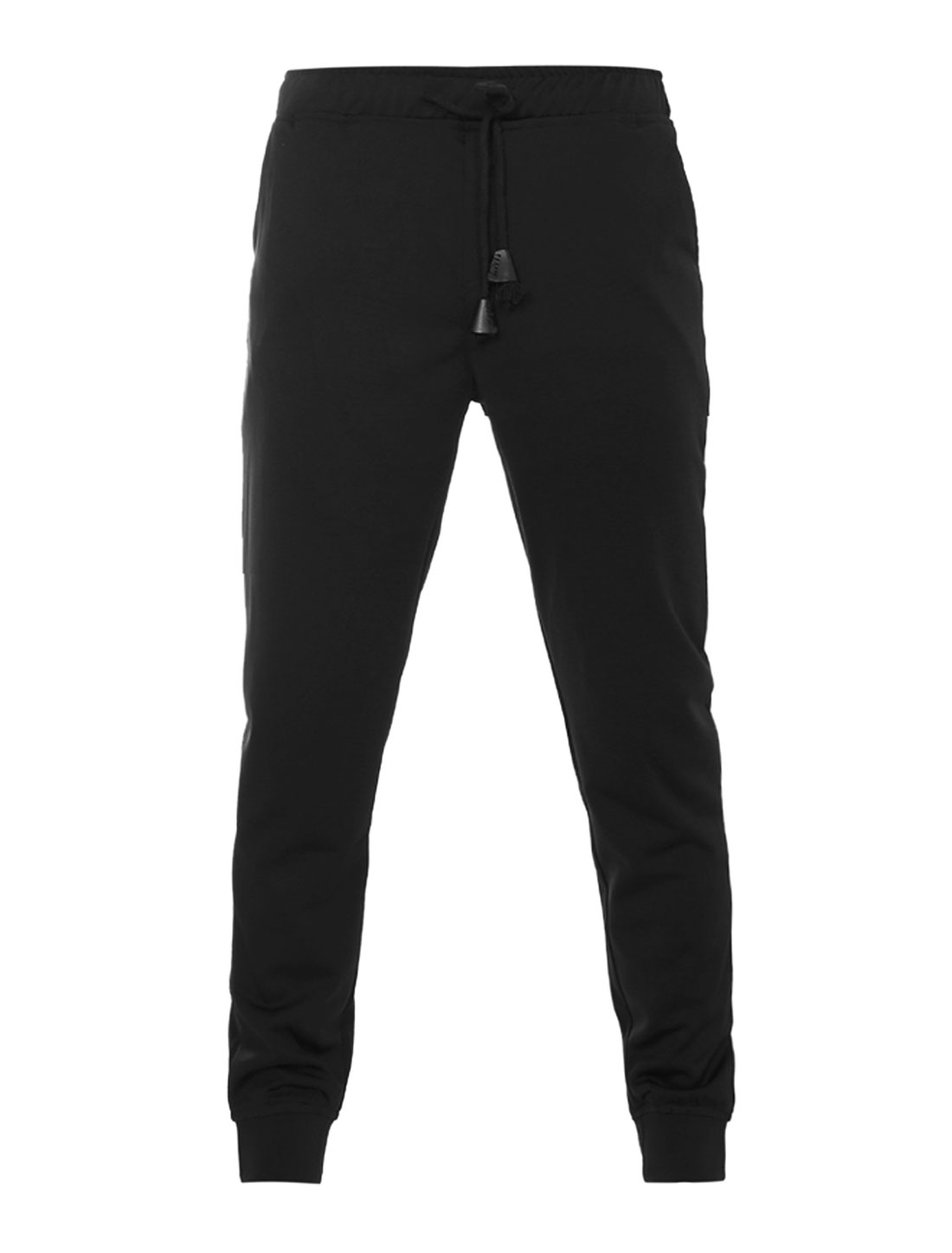 Men Side Pockets Elastic Drawstring Waist Jogger Pants Black W32