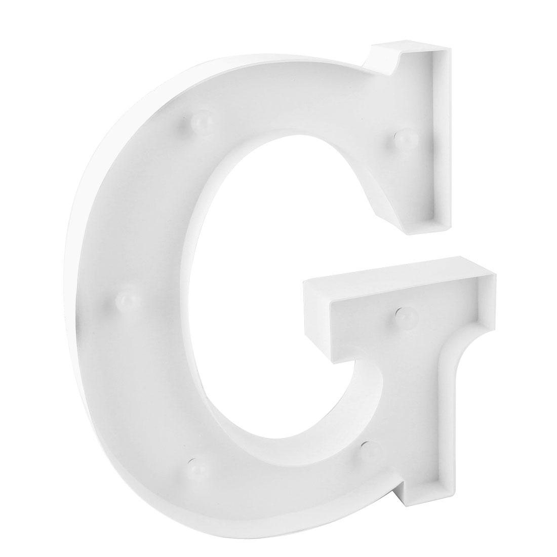 Wedding Party Plastic Decor English G Letter Alphabet Word Free DIY Hanging LED Light White