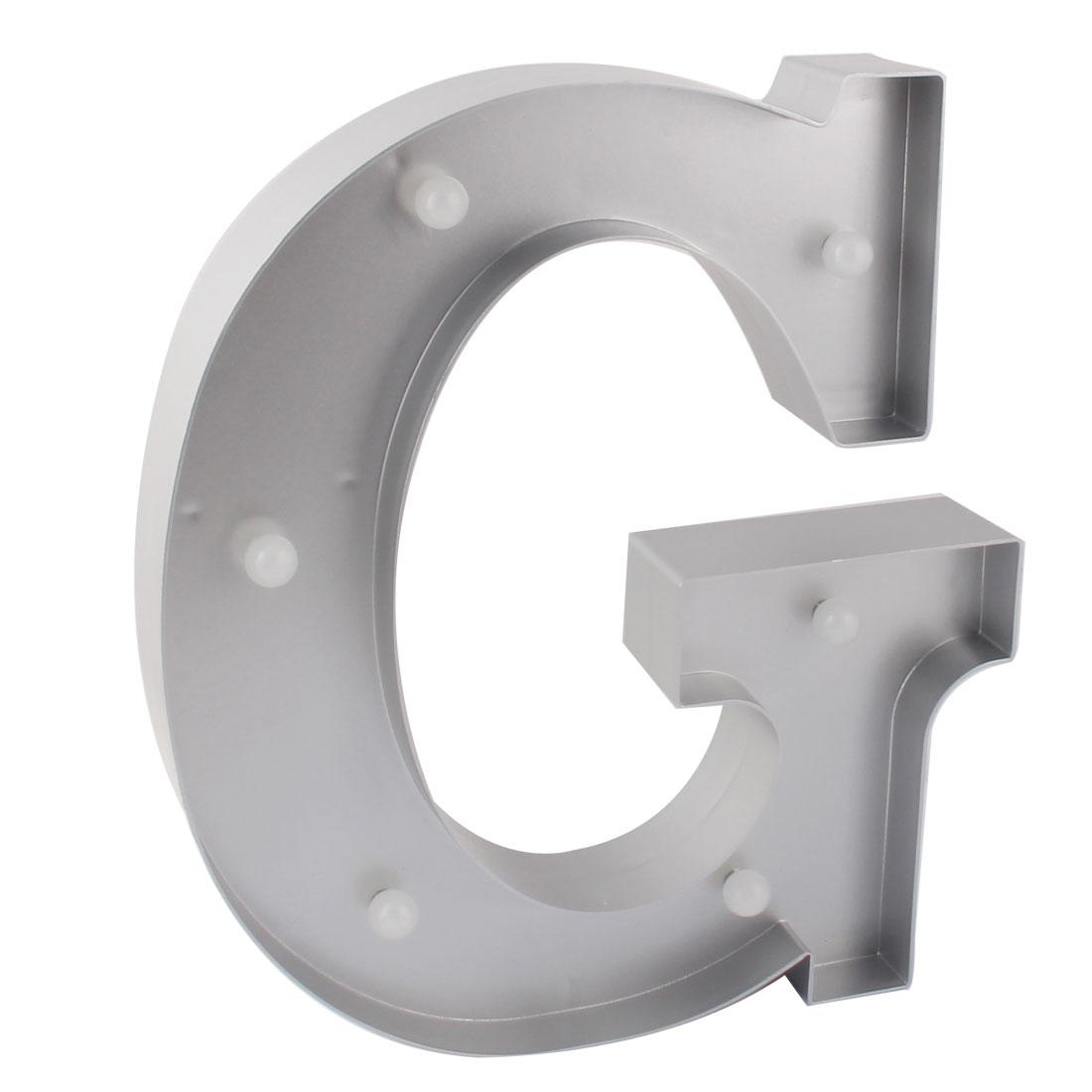 Party Plastic Decor English G Letter Alphabet Free DIY Hanging LED Light Silver Tone
