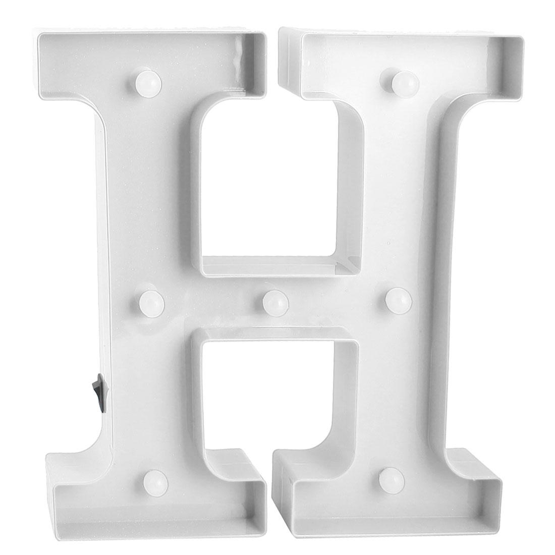 Party Plastic Decor English H Letter Alphabet Word Free DIY Hanging LED Light White