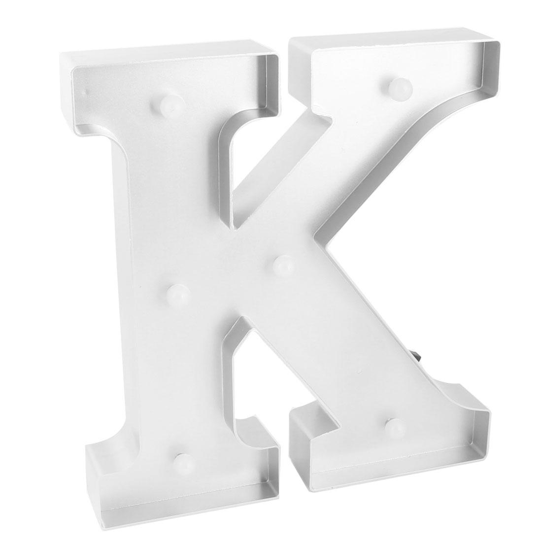 Livingroom Plastic Decor English K Letter Alphabet DIY Hanging LED Light Silver Tone