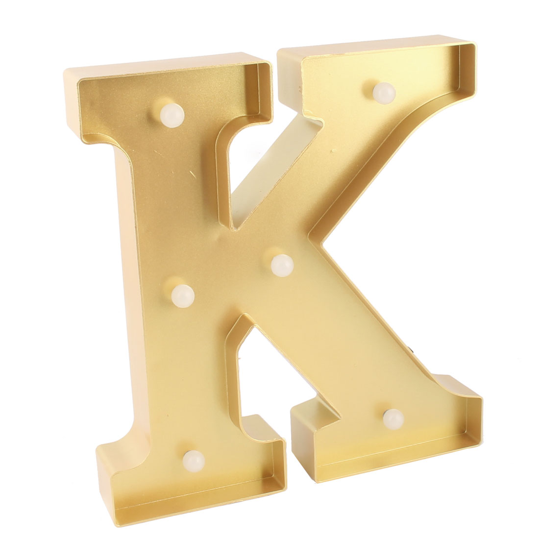 Livingroom Plastic Decor English K Letter Alphabet DIY Hanging LED Light Gold Tone