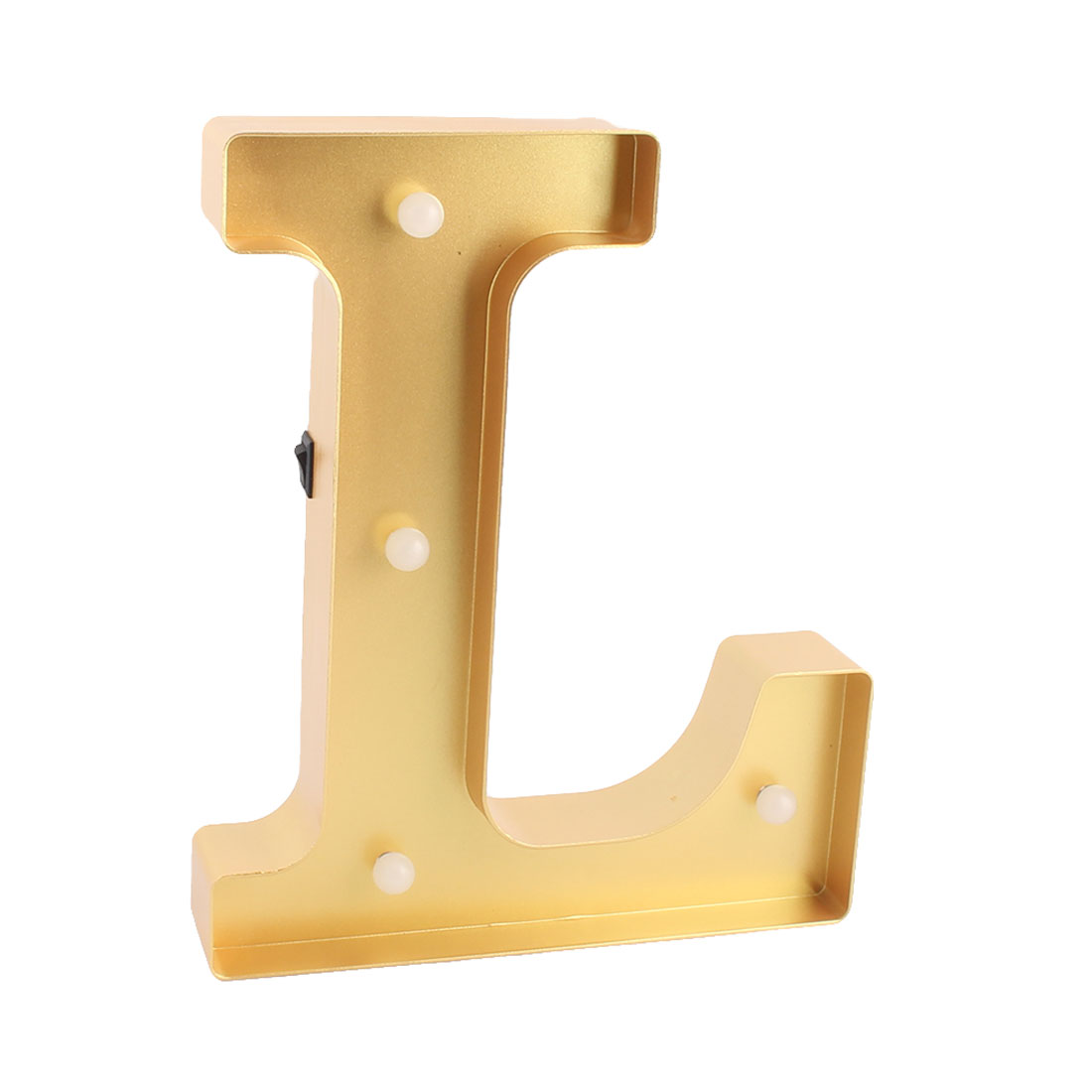 Restaurant Plastic Decor English L Letter Alphabet Word Free DIY LED Light Gold Tone