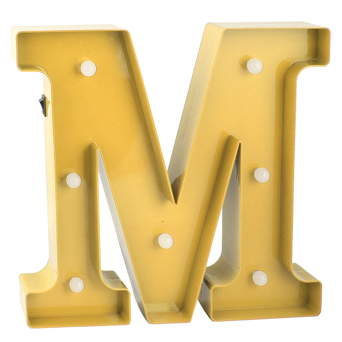 Coffee Shop Plastic Decor English M Letter Alphabet DIY Hanging LED Light Gold Tone