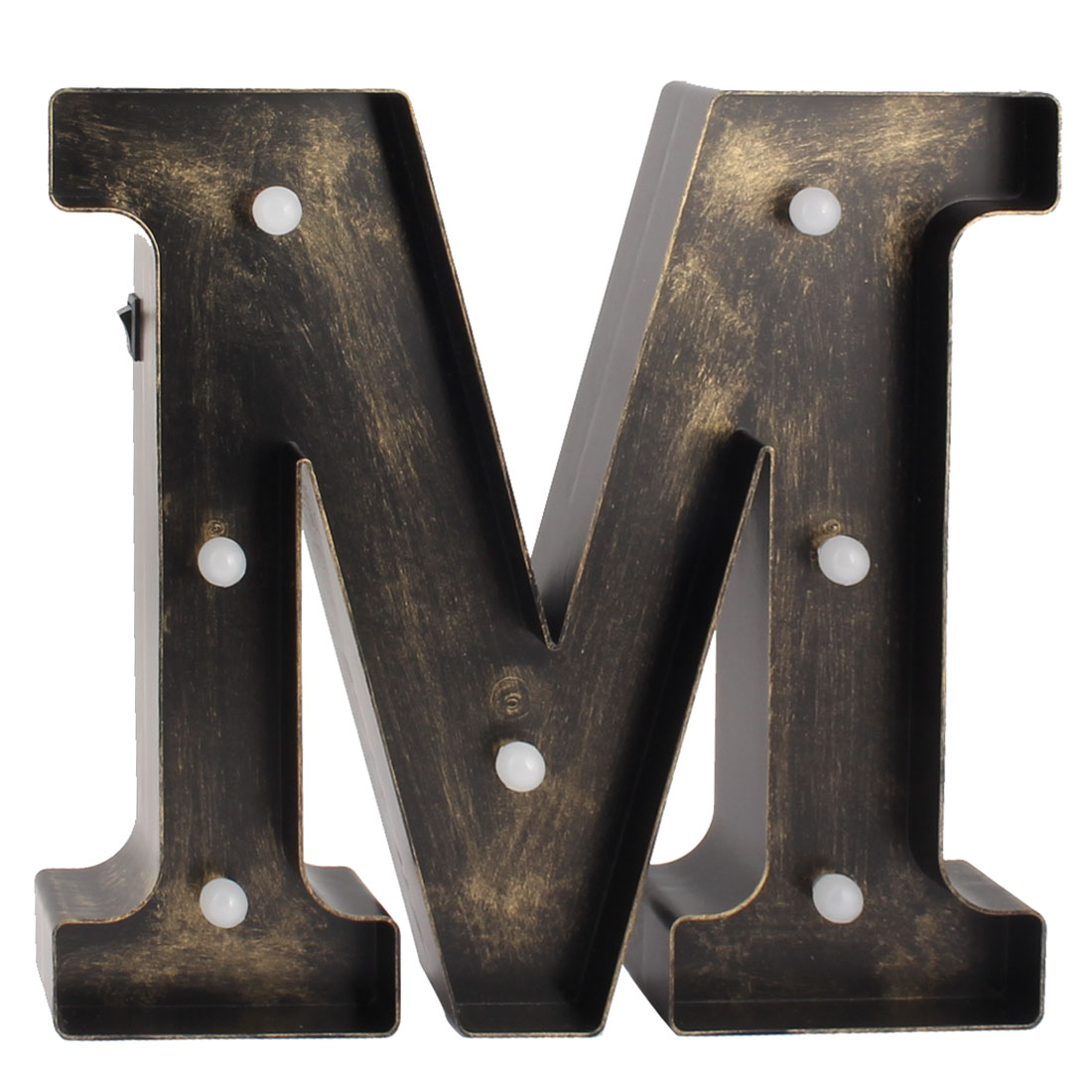 Coffee Shop Plastic Decor English M Letter Alphabet DIY Hanging LED Light Bronze Tone