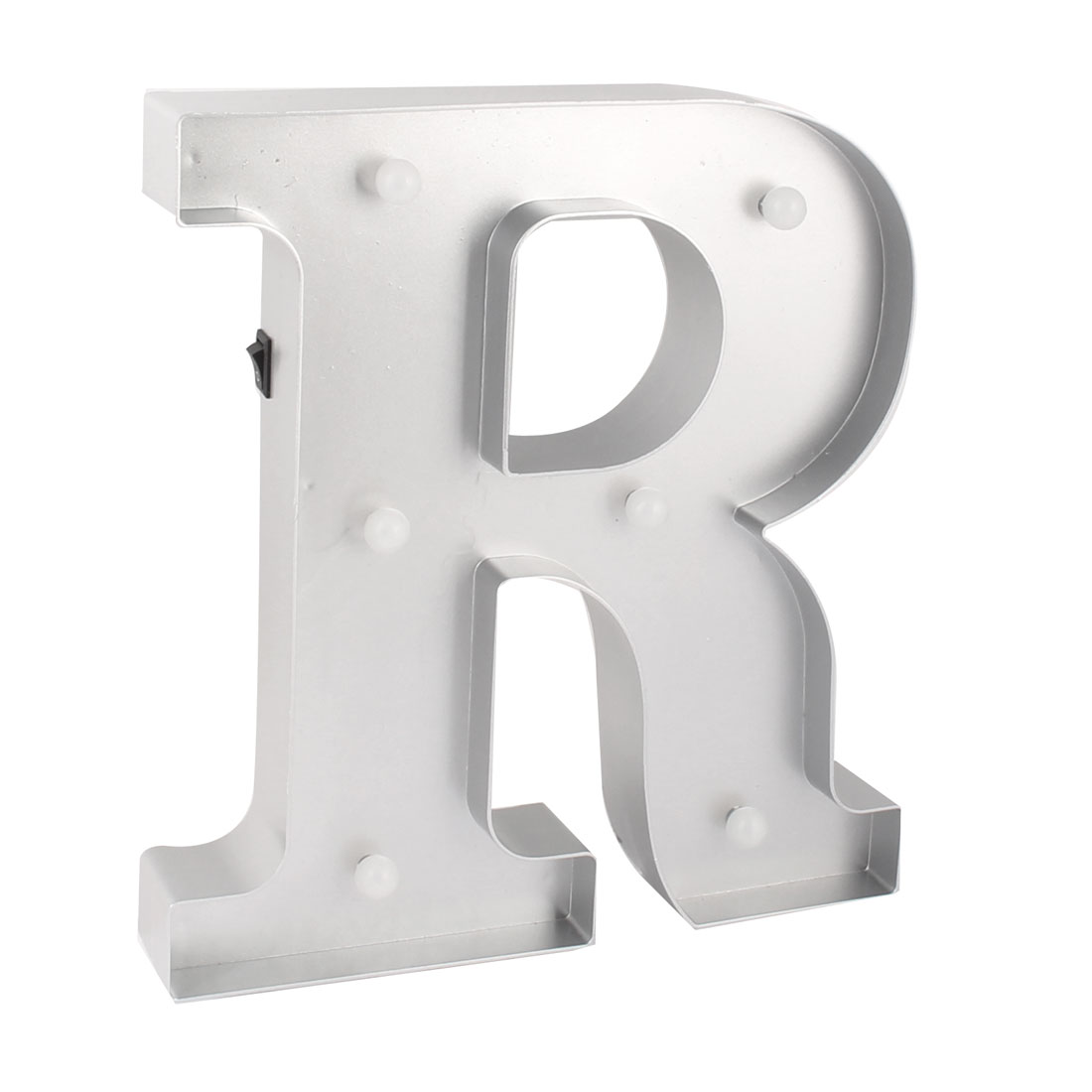 Birthday Party Plastic Decor English R Letter Alphabet Word Free DIY LED Light Silver Tone