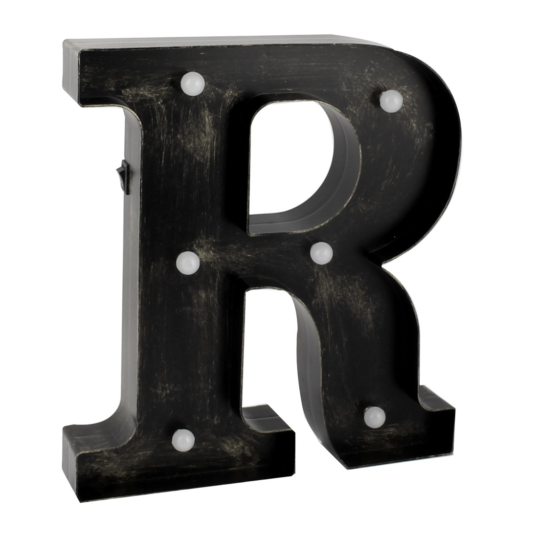Birthday Party Plastic Decor English R Letter Alphabet DIY Hanging LED Light Bronze Tone