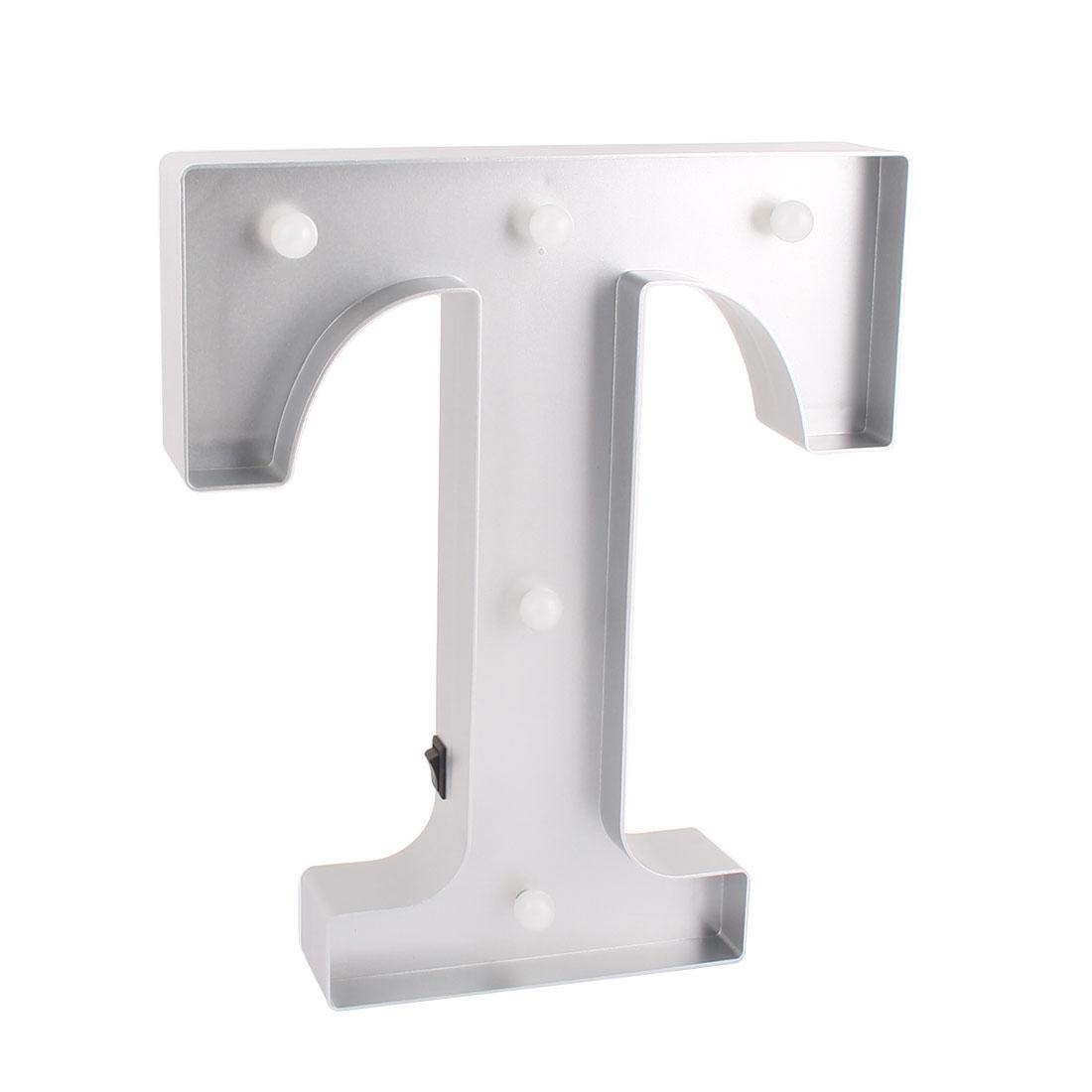 Bedroom Plastic Decor English T Letter Alphabet Word Free DIY LED Light Silver Tone