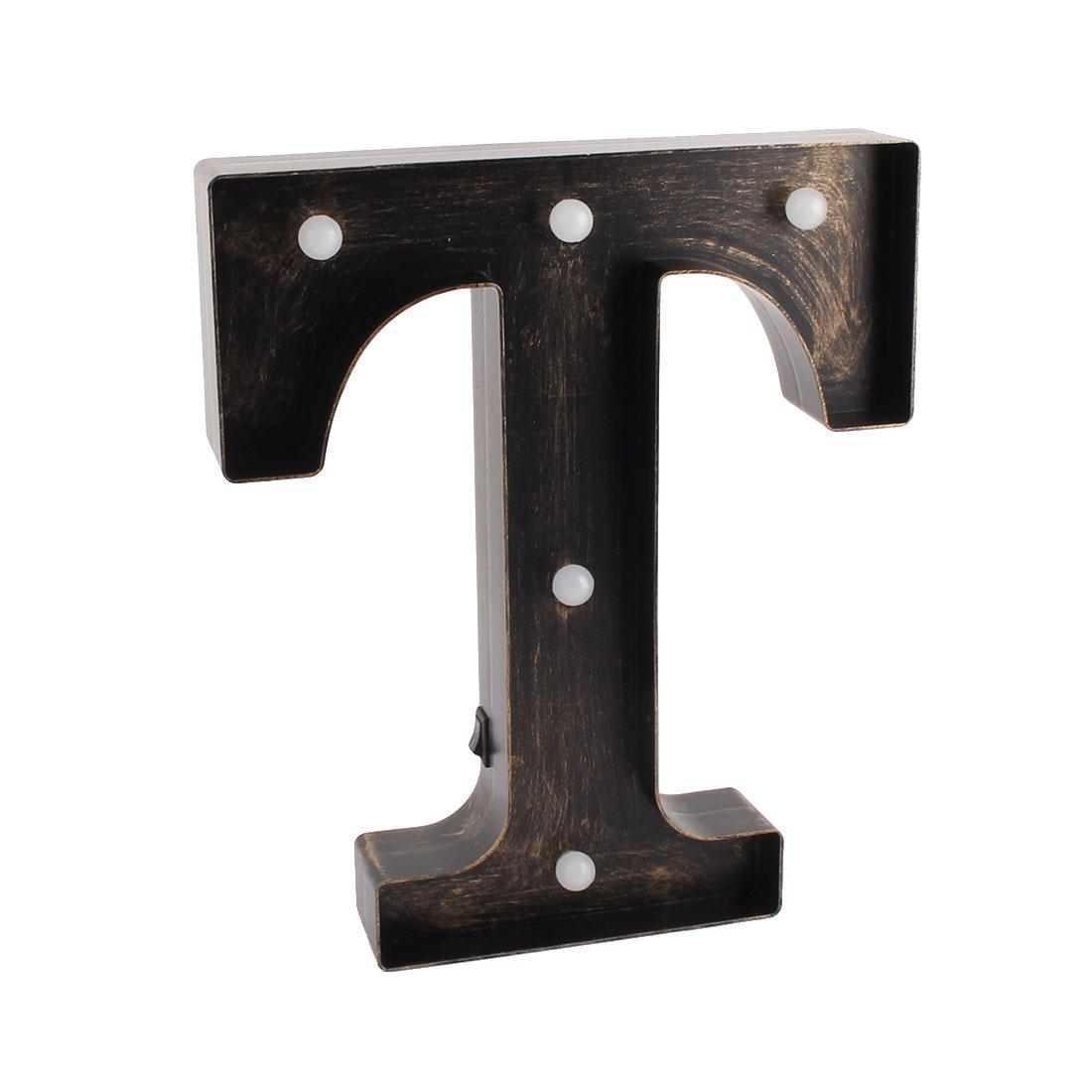 Bedroom Plastic Decor English T Letter Alphabet Word Free DIY LED Light Bronze Tone