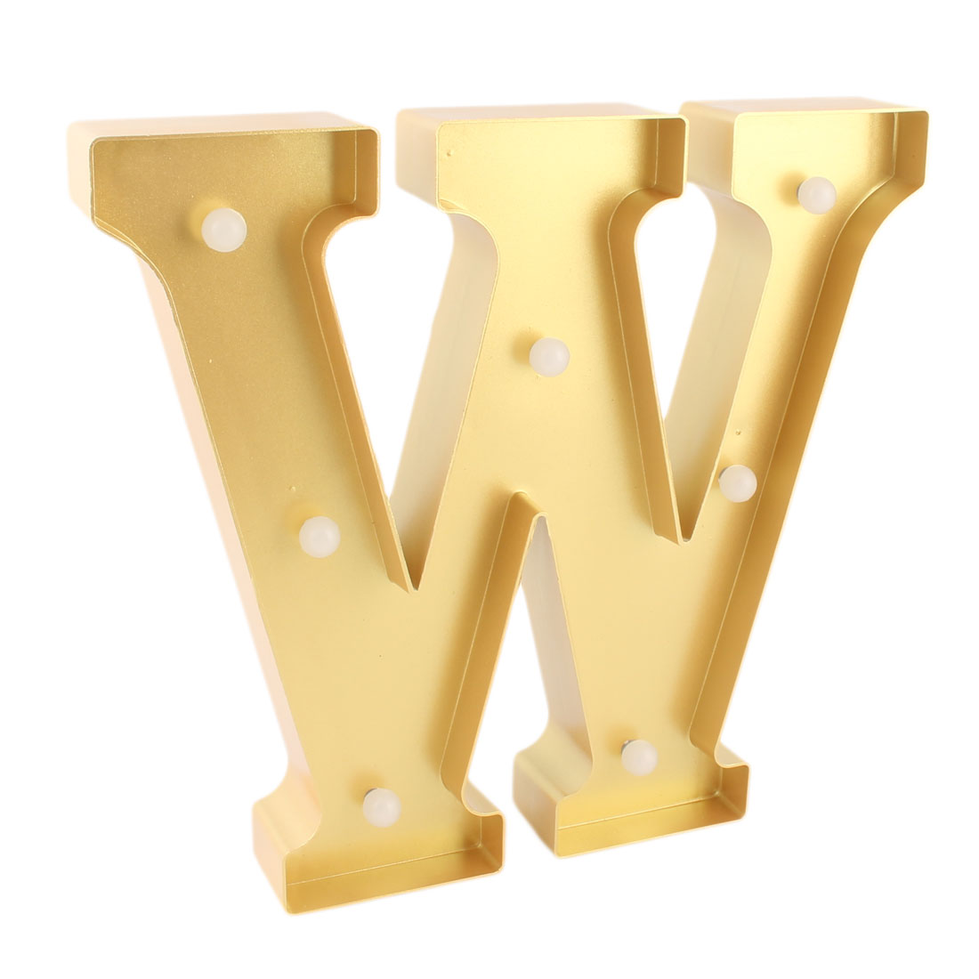 Home Plastic Decor English W Letter Alphabet Word Free DIY Hanging LED Light Gold Tone