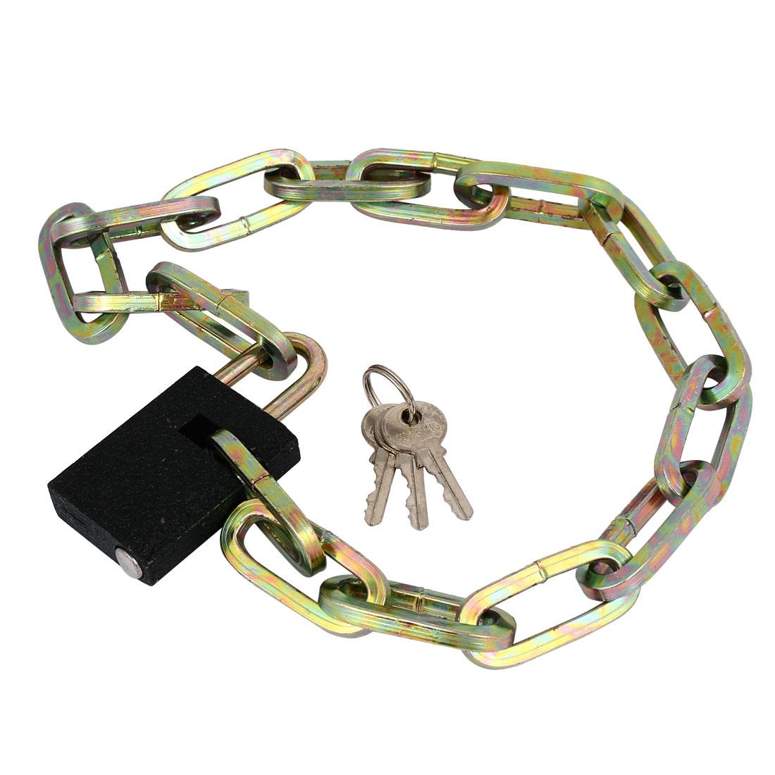 Cycling Bike Bicycle Security Chain Lock Padlock 70cm Length w Keys