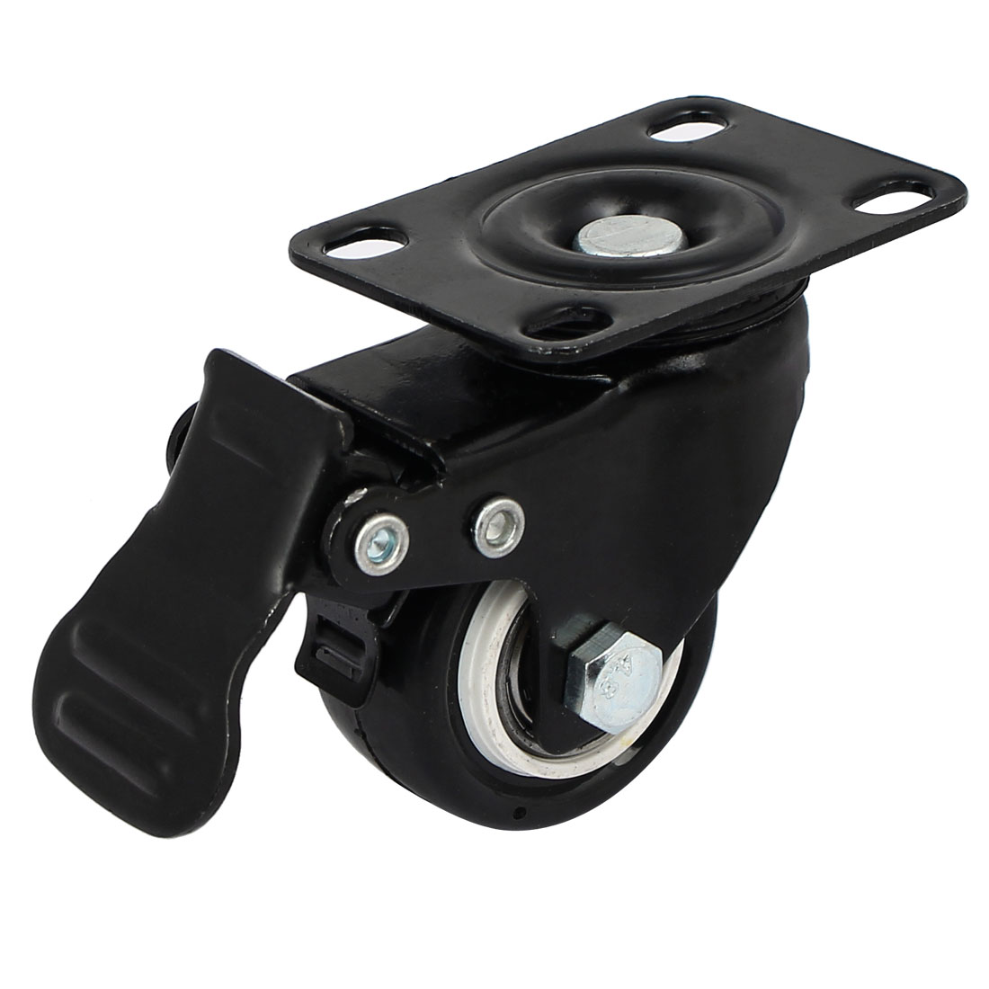 1.5'' Diameter Wheel Rotary Top Flat Plate Swivel Brake Caster Black