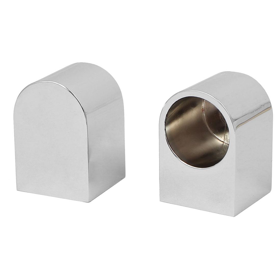 Wardrobe Closet Rail Rod End Bracket Support Silver Tone 19mm Dia 2pcs