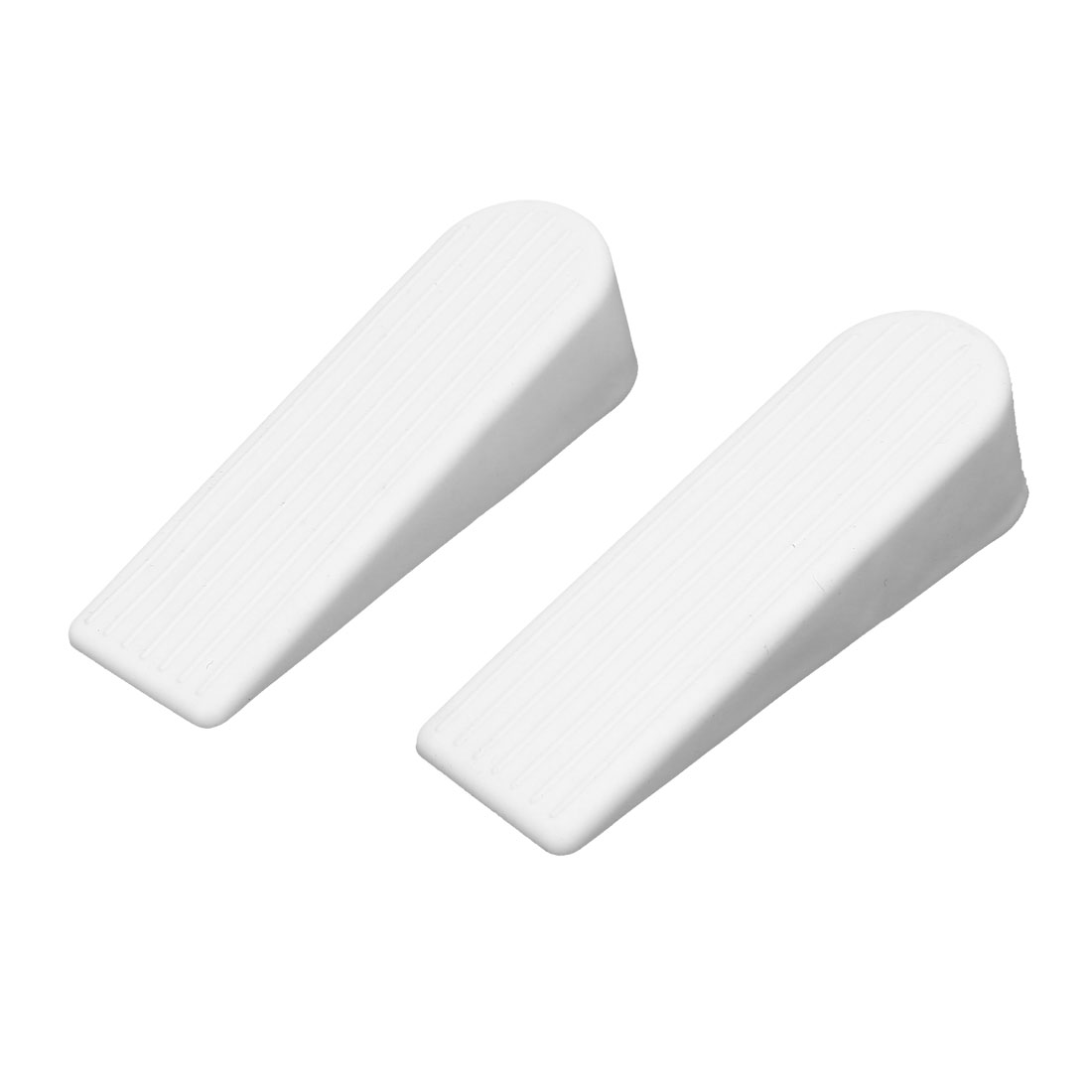 Home Office Rubber Safety Wedge Jam Door Stopper Doorstop White 100mm Length 2pcs