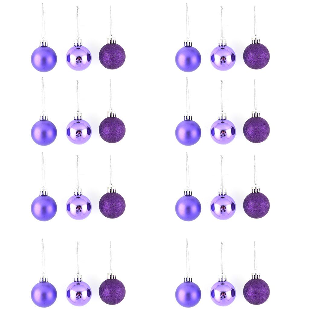 Holiday Christmas Party Plastic Pendant Tree Ornament Ball Purple 4cm Dia 24 Pcs