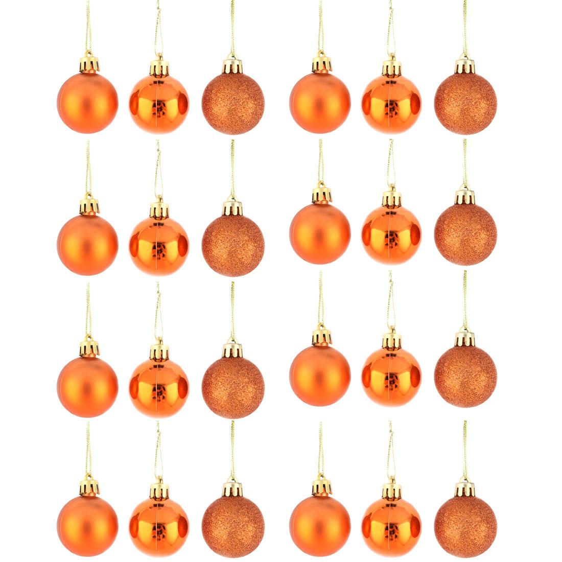 Holiday Christmas Party Plastic Pendant Tree Ornament Ball Orange 4cm Dia 24 Pcs