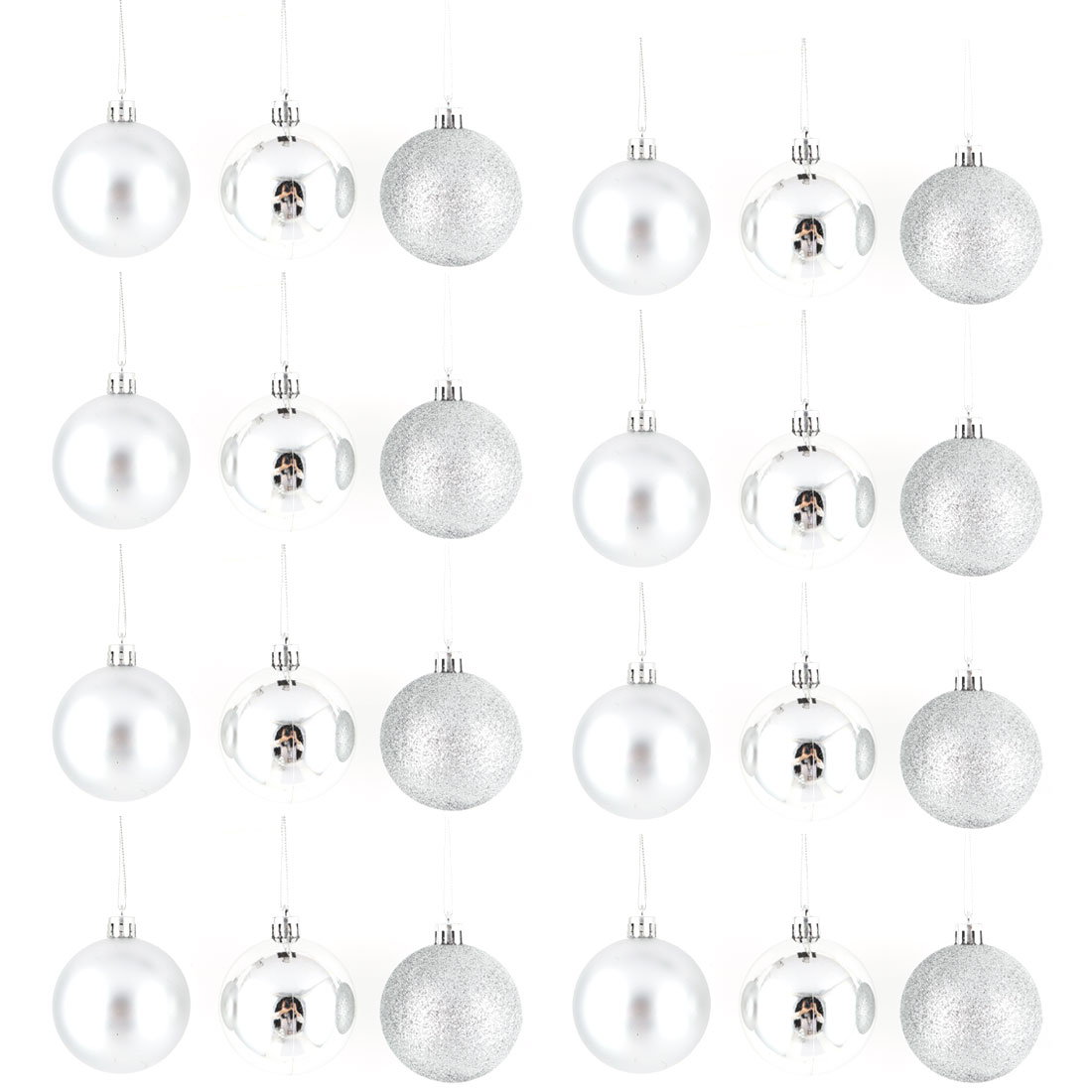 Holiday Christmas Party Plastic Pendant Tree Ornament Ball Silver Tone 6cm Dia 24 Pcs