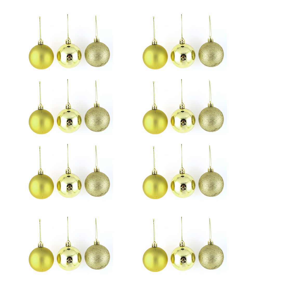 Holiday Christmas Party Plastic Pendant Tree Ornament Ball Gold Tone 6cm Dia 24 Pcs