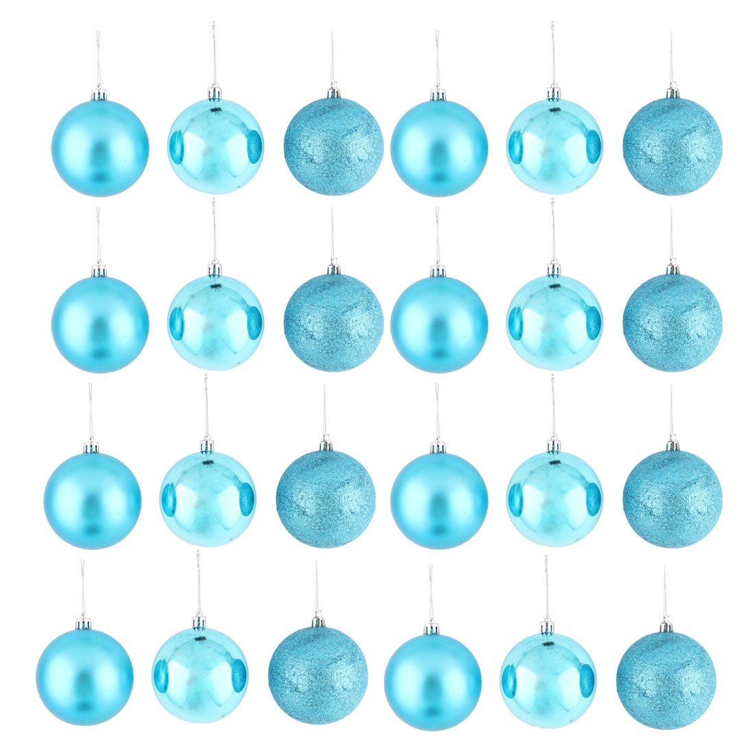 Holiday Christmas Party Plastic Pendant Tree Ornament Ball Light Blue 8cm Dia 24 Pcs