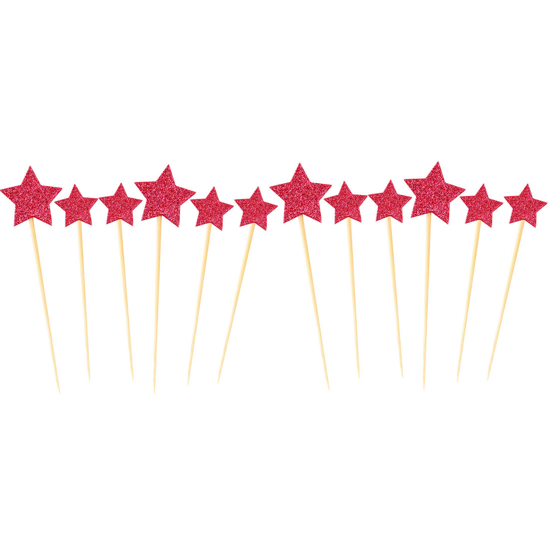 Home Party Cupcake Star Shaped DIY Glittery Toothpicks Picks Topper Red 12 in 1