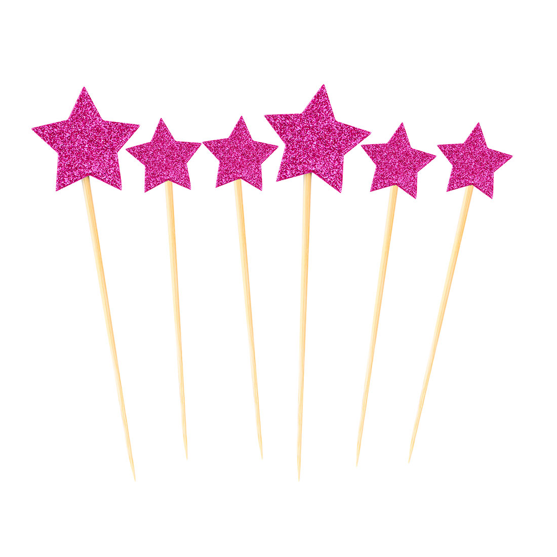 Birthday Cupcake Star Shaped Glittery Toothpicks Picks Topper Fuchsia 6 in 1