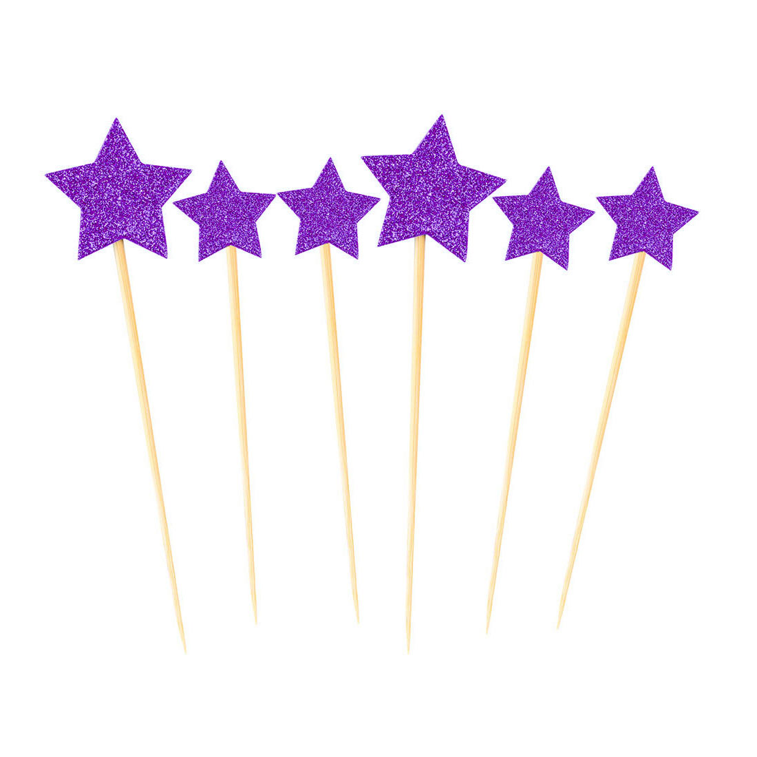 Cupcake Star Shaped Glittery Toothpicks Craft Picks Topper Purple 6 in 1