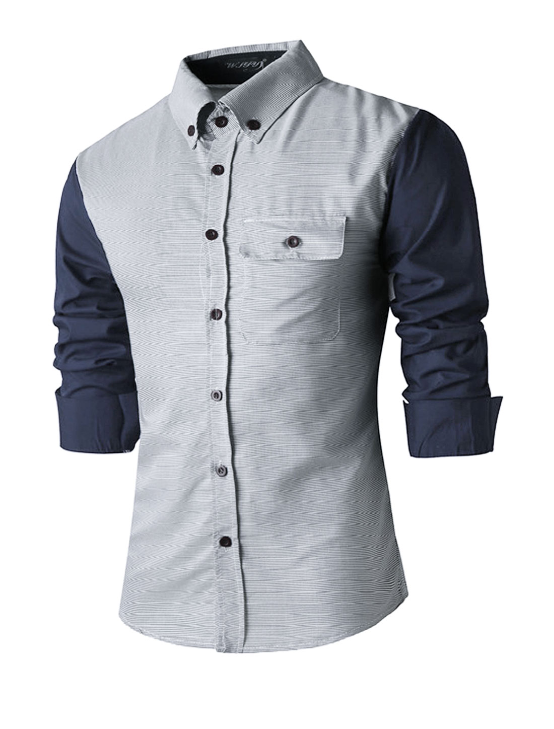 Men Stripes Contrast Color Long Sleeves Button Down Shirt Blue S